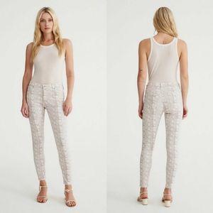 AG Prima Ankle Cigarette Jeans Silk Python Ivory